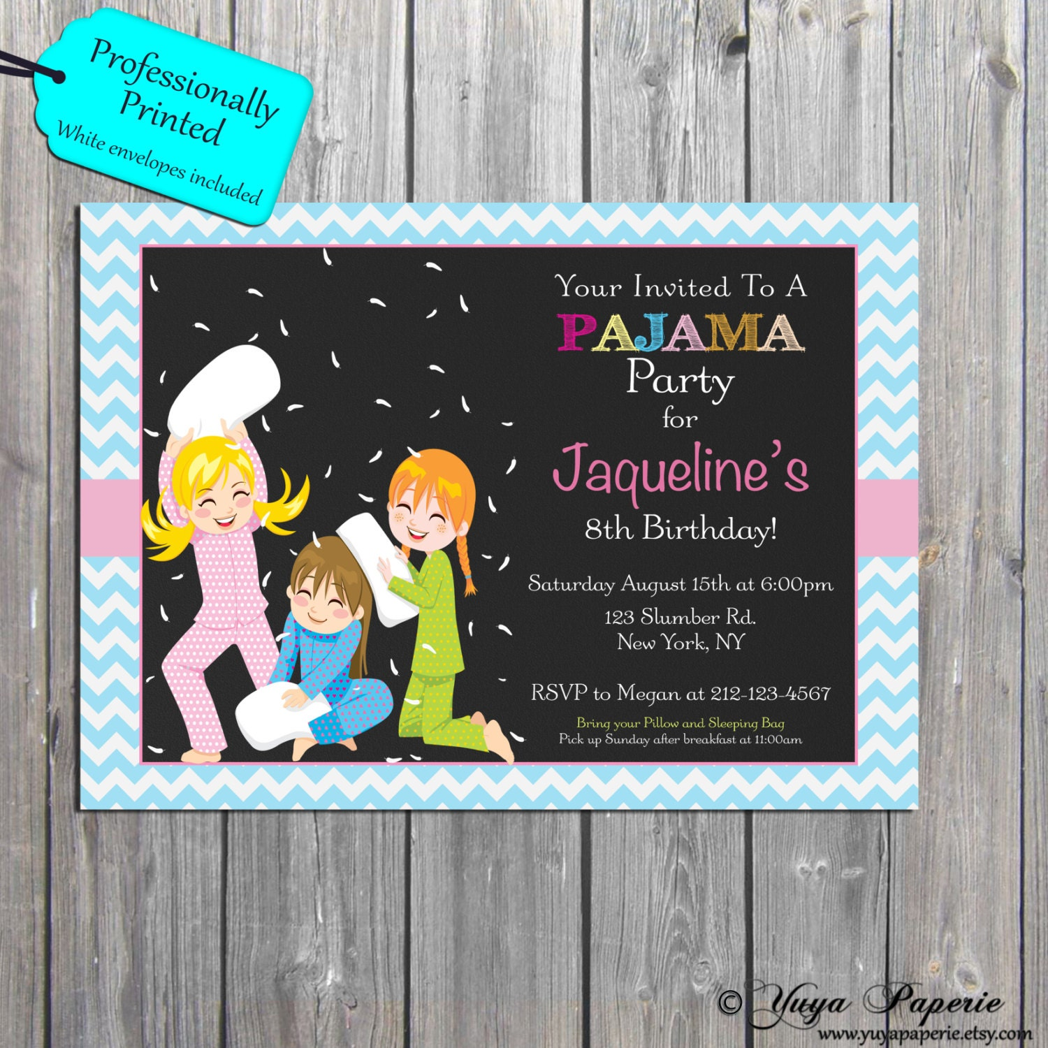 pajama party invitation slumber birthday party invitations sleepover invite professionally printed also available in digital format