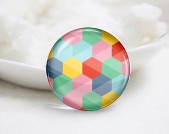 Handmade Round Hexagon Photo Glass Cabochons (P3441)