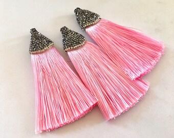 Pink Tassels, tassel earrings, Bejeweled Tassels, 3.25 Inch 85mm Tassel, pink jewelry, tassel necklace, pink necklace, silk tassel, pink key