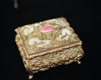 Gold Jewelry Casket, Vintage Trinket Box, We have more to choose from, jewelry box, shabby chic, great ring bearer pillow #2111