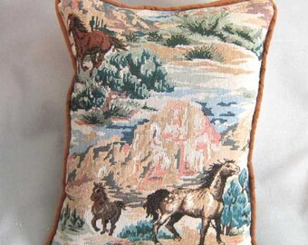 Markdown Sale...Handmade MUSTANGS WESTERN Horse Pillow w/piping Quality Upholstery Fabric