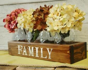 FAMILY table decor, farmhouse style, farmhouse decor, rustic table, fixer upper style, Housewarming,,wedding gift, stenciled box, wood box