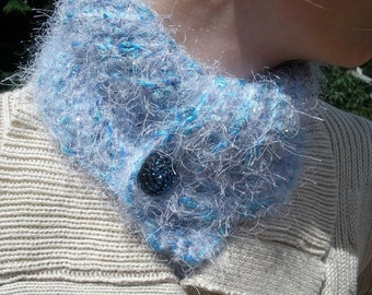 Crocheted Scarflette in Shades of Blue and Lavender