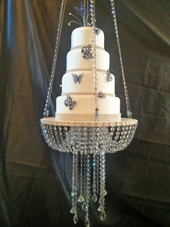 Faux crystal chandelier style drape suspended cake swing faux crystal chandelier style drape suspended cake swing mirror top gold or silver mozeypictures Image collections