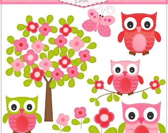 ON SALE owl clipart - Tree clip art , instant download Digital clip art, Owl and flowers tree, Pink , Red , Butterfly