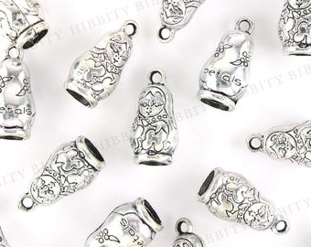 Russian Doll Charms Antique Silver - 5 pcs - 25mm x 13mm - 3D, Nesting Doll, Matryoshka, Pewter, Charm Bracelet, Charm Jewelry - AS-18