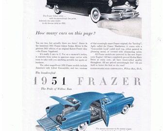 1951 Frazer adel Sedan porte-bagages Antique Page de publicité de voiture