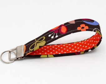 Key fobs fabric, key chain wristlet for her, keyring - bright floral with orange and white polka dots