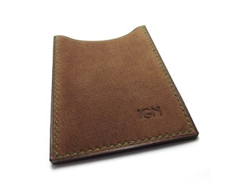DUST Brown Monogrammed Leather Card Case, Handmade Card Holder, Personalized Business Card Case, Vertical Wallet, Card Holder, Sakao on Etsy
