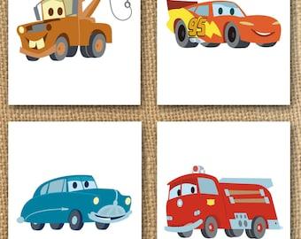 Cars Nursery Print - Boys Cars Bedroom Prints - Set of 4 (Digital or Printed Option) - Cars Bedroom Decor