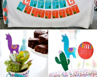 Alpaca | Llama | Cactus | Yarn Tassel PRINTABLE Party Collection - You Customize EDITABLE TEXT >> Instant Download | Paper and Cake
