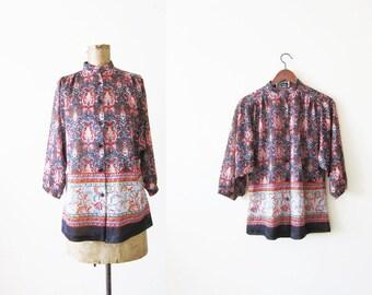 60s blouse - peasant blouse - bohemian top - boho shirt - paisley blouse - 1960s clothing - dolman sleeve - gypsy shirt - S M