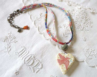 Ceramic Heart Necklace, Yellow with Red Bird and Liberty of London Ribbon