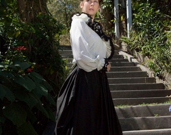 1900s Antique Dress, Black Victorian Dress Suit, 1900s Womens Beaded Dress, Turn of the Century Dress, Bustle Skirt, Size XL