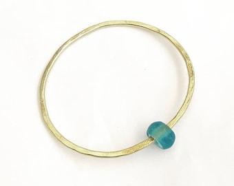 Brass Bangle - Recycled Glass Bangle - Planished Brass Bangle - Hammered Bangle