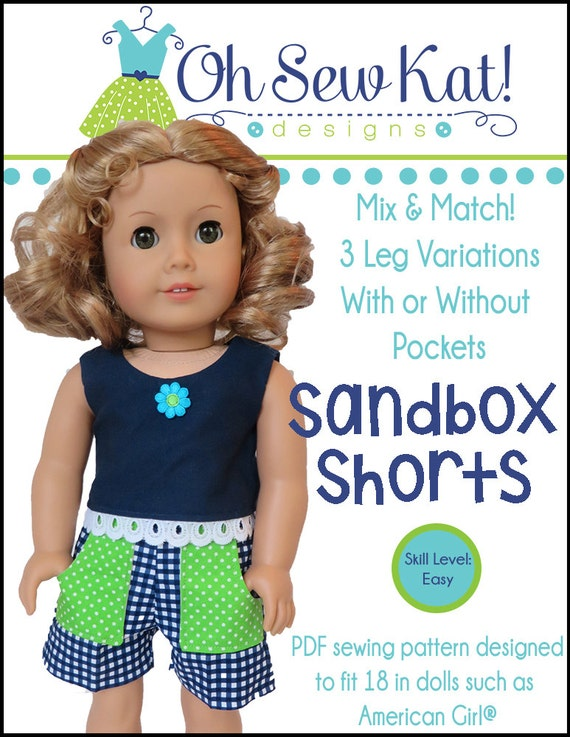 Sandbox Shorts Sewing Pattern for dolls