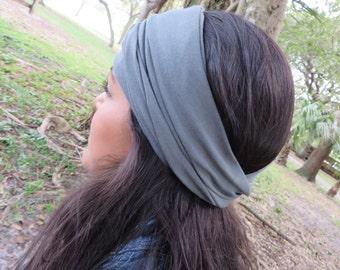 Yoga Headband, Gray Wide Headband, Women Headwrap, Running Headband, Fitness Headband, No Slip Headband, Bohemian Headband, Turban Headband