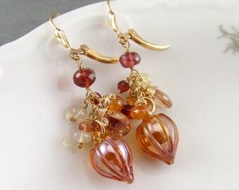 Gemstone cluster earrings with garnet, spessartite garnet, imperial topaz, Ethiopian opal, hollow glass bead gold earrings-OOAK