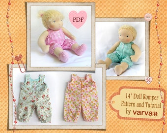 PDF tutorial and sewing pattern of romper for a Waldorf doll 13-14 inch (33-36 cm) tall