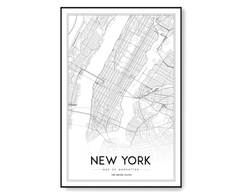new york map print manhattan nyc map manhattan map poster nyc ny map united states map print new york city black and white map