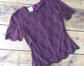 Vintage plum embellished going out top