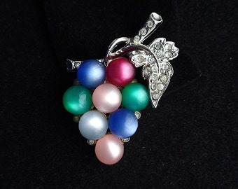 CORO Colorful Grape Cluster Moon Glow Glass Brooch - Silver and Rhinestone Leaf Motif - Estate Jewelry - Designer Signed