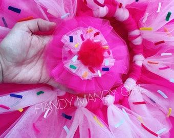 Cupcake tutu and a cherry on top headpiece set -cupcake costume - donut tutu skirt- ombre tutu with sprinkles