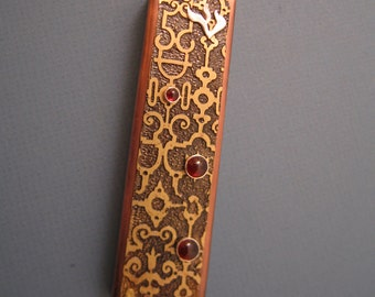 Moroccan Style Jewish Mezuzah in Copper, Brass and Silver with Garnets