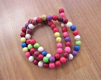 Round 5mm beads colorful rainbow Howlite Gemstones 15-1/2 inch strand
