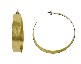 Gold extra large hoops, gold thick hoops, XL wide hoops, brass tribal earrings, chunky large hoops, jumbo creole hoops, big boho studs