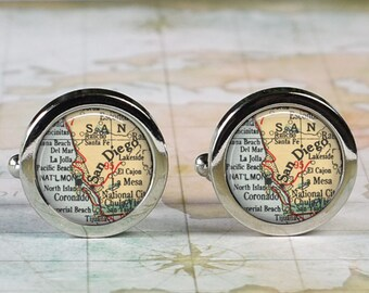 San Diego cuff links, California map cufflinks wedding gift anniversary gift for groom gift for men groomsmen best man Father's Day gift