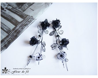 Handmade Earrings, Black Earrings, Crystal Earrings, Long Earrings, Silver earrings, Silver wire Earrings, Organza Earrings