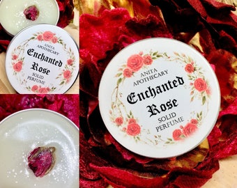 Enchanted Rose Solid Perfume~Salve, Goddess magick, feminine, witchcraft oils, tarot catds, runes, altar tools, witch beauty, pagan, Moon Go