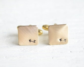 Jagged arrow native cufflinks - mens bohemian wedding day accessories - made by hand in the USA by white truffle