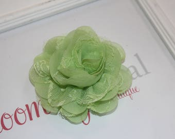 Lime Green Lace Chiffon Flower Clip