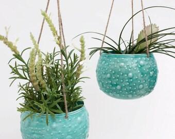 Enamel Hanging Planter || Blumenampel || Plant Pot Holder || Aqua