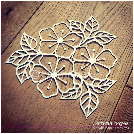Items similar to printable pdf paper cutting template flowers and items similar to printable pdf paper cutting template flowers and leaves on etsy mightylinksfo Choice Image
