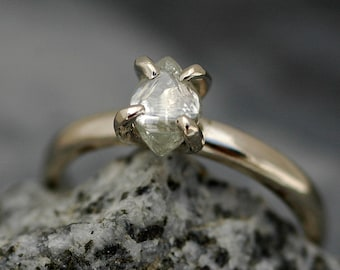 Transparent Raw Diamond on Recycled Gold Band- Custom Made Engagement Ring