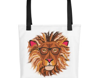 Lion with glasses purse carry on diaper bag Tote bag