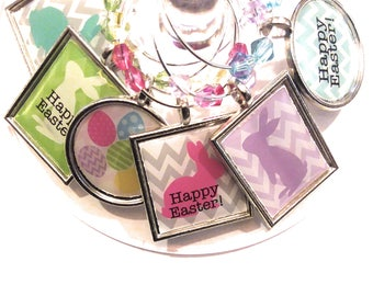 Easter Wine Charms, Easter Egg Charms, Glass Tags, Glass labels, Glass Decals, Glass Markers, Easter Dimmer Favors, Easter Gifts, 6 Pack