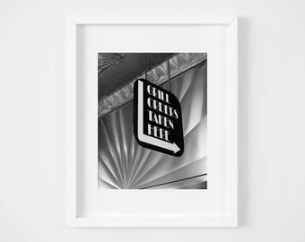 Philadelphia photography - Jim's Steaks photo - Retro diner photo print - Vintage sign wall art - Black and white cafe decor - 8x10 11x14