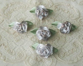 5 Small Ribbonwork Floral Appliques -Pale Blue, Blush & Green Satin Ribbon - Crafts, Sewing, Crazy Quilt, Scrapbooking, Dolls