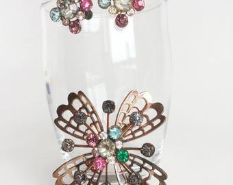 Rhinestone Brooch and Earrings Set - Gold Flower, Atomic Sputnik Glass Stones, Pink, Blue, Purple, Green, Screwback Earrings, Vintage 50s