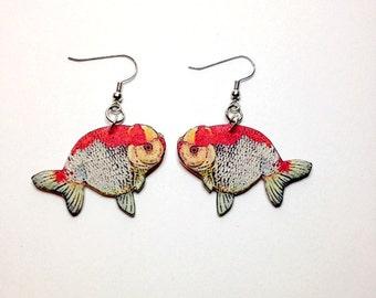 Handcrafted Plastic Ranchu Goldfish Earrings
