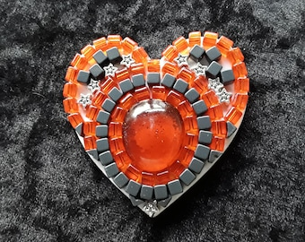 Heart, glass heart, heart fridge magnet, fridge magnet, Mosaic heart, heart shaped refrigerator magnet