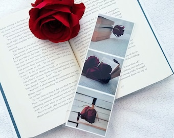 Bookmark featuring Red Roses and Books