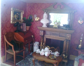 Miniature Diorama Shadow Box Sherlock Holmes Front Room 221b Baker Street