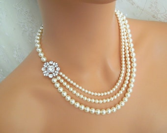 pearl rhinestone necklace, bridal pearl necklace, Statement Bridal necklace, Wedding Rhinestone necklace, swarovski pearl necklace, COLLEEN