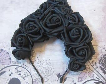 Halloween headband, Hair hoop with freesias, Black Roses headband, Flower hair hoop, roses flowers, Hallowen Hair hoop, Hallowen hairhoop