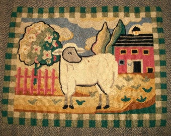 Vintage Primitive Hand-Hooked-Wool Rug with Pastoral Motif of Sheep, Tree and Barn